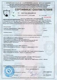 Сертификат на панели защитные класса Бр3.III