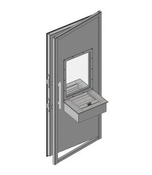 Дверной блок Бр1 класса пулестойкости 900x2100 мм с передаточным узлом (ПУ) с остеклением Бр1 и лотком на 2 Б/У
