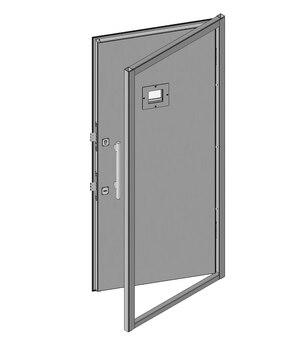 Дверной блок I класса взломостойкости и Бр1 с иллюминатором 100х100 мм
