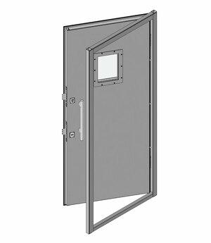 Дверной блок I класса взломостойкости и Бр1 с иллюминатором 200х300 мм