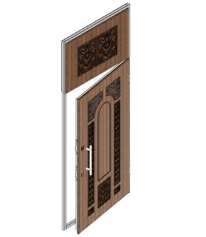 Дверной блок I класса взломостойкости и Бр1 класса пулестойкости 1000x2500 мм с верхней фрамугой и МДФ накладками