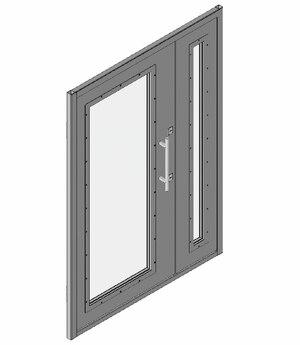 Дверной блок I класса взломостойкости и Бр1 класса пулестойкости 1300x2100 мм с максимальным остеклением Бр1