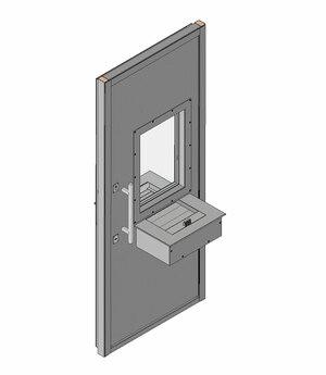Дверной блок II класса взломостойкости и Бр2 класса пулестойкости 900x2100 мм с передаточным узлом (ПУ) с остеклением Бр2 и лотком на 2 Б/У