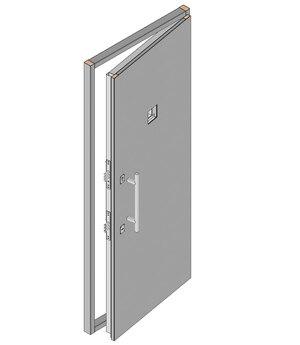 Дверной блок II класса взломостойкости и Бр2 класса пулестойкости 900x2100 мм двухстворчатый с иллюминатором 100х100 мм