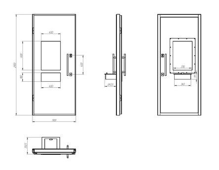 Дверной блок Бр4 класса по пулестойкости 900x2100 мм с передаточным узлом (ПУ) с остеклением Бр4 и выдвижным лотком (ЛВ) на 2 б/у